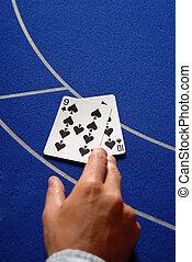 カード, テーブル, カジノ, 2, 手