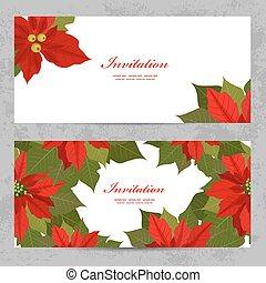 カード, デザイン, あなたの, ポインセチア, 招待