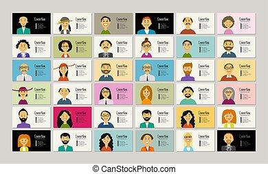 カード, デザイン, あなたの, 肖像画, ビジネス 人々