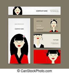 カード, デザイン, 女の子, アジアのビジネス