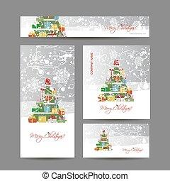 カード, デザイン, 木, あなたの, クリスマス
