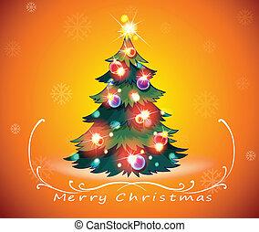 カード, デザイン, 木, クリスマス, 光っていること