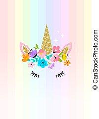 カード, -, デザイン, 花, 頭, ワイシャツ, 一角獣