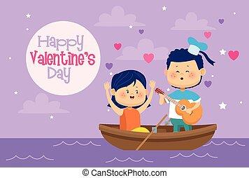 カード, バレンタイン, 子供, わずかしか, 恋人, 日, かわいい, カヌー