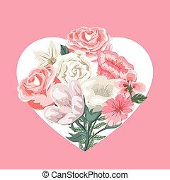 カード, バレンタイン, 心, 花, 花束