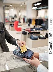 カード, パッティング, ターミナル, 支払い, クレジット