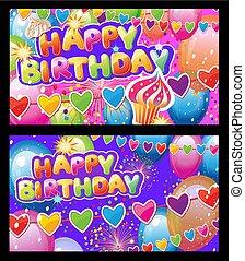 カード, パーティー, 要素, セット, birthday