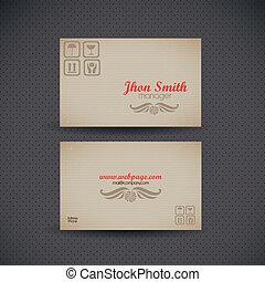 カード, ビジネス, レトロ