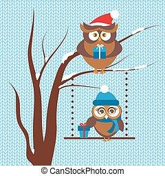 カード, フクロウ, 恋人, クリスマス, テンプレート