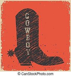 カード, ブーツ, ベクトル, カウボーイ, バックグラウンド。, 赤
