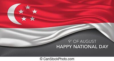 カード, ベクトル, テンプレート, 旗, テキスト, 国民, 日, イラスト, シンガポール, 挨拶