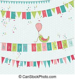 カード, ベクトル, レトロ, birthday, 鳥