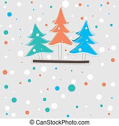 カード, ベクトル, 木, クリスマス, イラスト