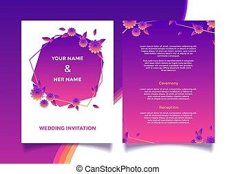 カード, ベクトル, 花, 招待, 結婚式