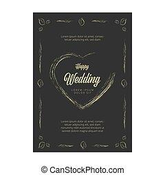カード, ベクトル, 黒板, 招待, 結婚式