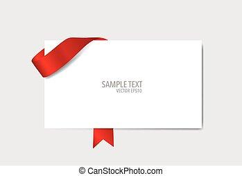 カード, ベクトル, illustration., 赤, ribbons.
