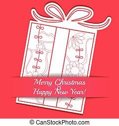 カード, ペーパー, 陽気, 贈り物, クリスマス