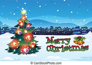 カード, ボール, 木, クリスマス, 光っていること