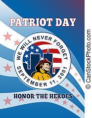 カード, ポスター, 愛国者, 挨拶, 911, 日, 思い出しなさい, アメリカ人