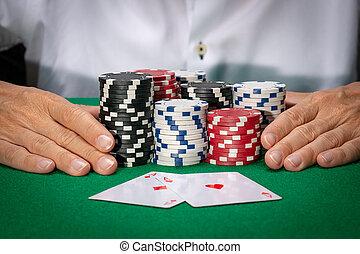 カード, ポーカーチップ, ギャンブル, カジノ, プレーヤー