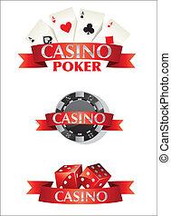 カード, ポーカー, カジノチップ, さいころ