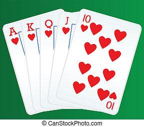 カード, ポーカー, ロイヤルフラッシュ