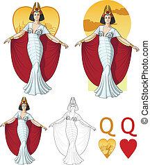 カード, マフィア, セット, 心, 女優, 女王
