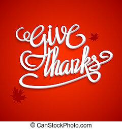カード, レタリング, 容積測定, illustration., 弾力性, テキスト, 幸せ, 挨拶, 感謝祭, バックグラウンド。, ありがとう, 手, 影, 3d, 日, 赤, 3次元である