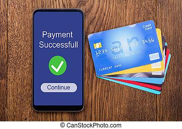 カード, 光景, 角度, 高く, mobilephone, クレジット