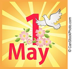 カード, 労働, 春, 光線, 1, 鳩, 太陽, インターナショナル, mayday, 開くこと, 祝福, apple-tree, day., 労働, 挨拶, ∥そうするかもしれない∥
