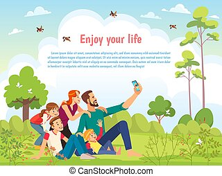 カード, 味方, nature., 家族, 子供養育, 歩くこと, 日当たりが良い, selfie, 漫画, ベクトル, 公園, 子供, 幸せ, 取得, ポスター, day., 親であること, 概念