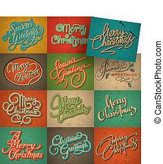 カード, 型, セット, クリスマス, ベクトル
