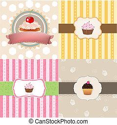 カード, 型, セット, cupcake