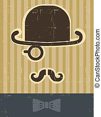 カード, 型, バックグラウンド。, gentlement, 帽子, 口ひげ