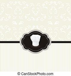 カード, 型, フレーム, シェフ, デザイン, 帽子