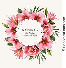 カード, 型, 休日, colorfu, flowers., vector., 挨拶, lwatercolor
