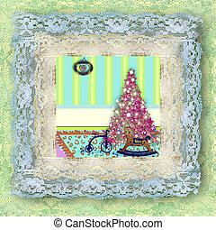 カード, 型, 木, クリスマス, おもちゃ