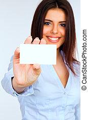 カード, 女性実業家, 微笑, 保有物, ブランク