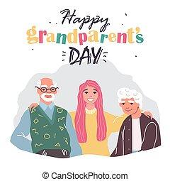 カード, 家族, 祖父母, 幸せ, 日, 挨拶