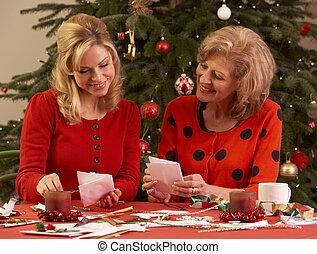 カード, 家, 女性, クリスマス, 作成