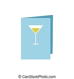 カード, 平ら, ワイン, スタイル, メニュー