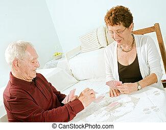 カード, 年長の カップル, 遊び