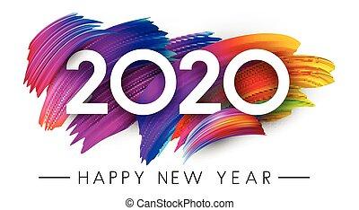 カード, 幸せ, 年, 新しい, design., 2020, ストローク, カラフルである, ブラシ