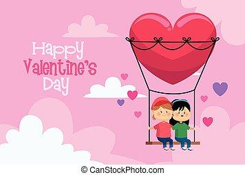 カード, 心, バレンタイン, 子供, わずかしか, 恋人, 日, かわいい, 変動
