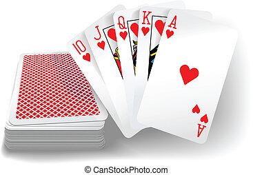 カード, 心, ポーカー, 同じ高さに, デッキ