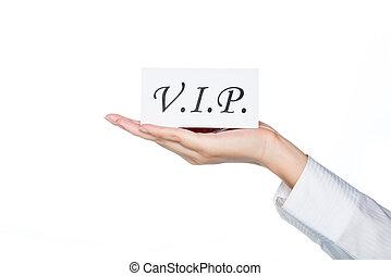 カード, 手を持つ, クラス, 女, 最初に, vip, サービス