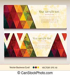 カード, 抽象的, セット, 幾何学的, ビジネス