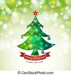 カード, 抽象的, 木, クリスマス, 背景
