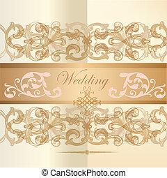 カード, 招待, 結婚式, クラシック