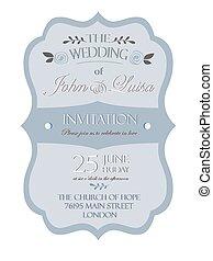 カード, 招待, 結婚式, テンプレート